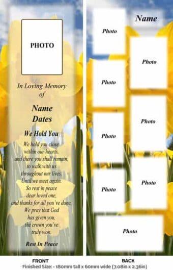 Large Memorial Bookmark-Style 10