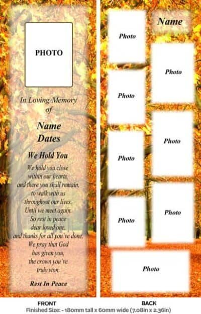 Large Memorial Bookmark-Style 11