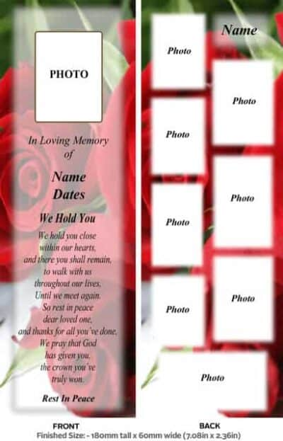 Large Memorial Bookmark-Style 15