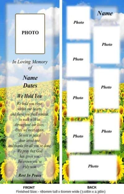 Large Memorial Bookmark-Style 16